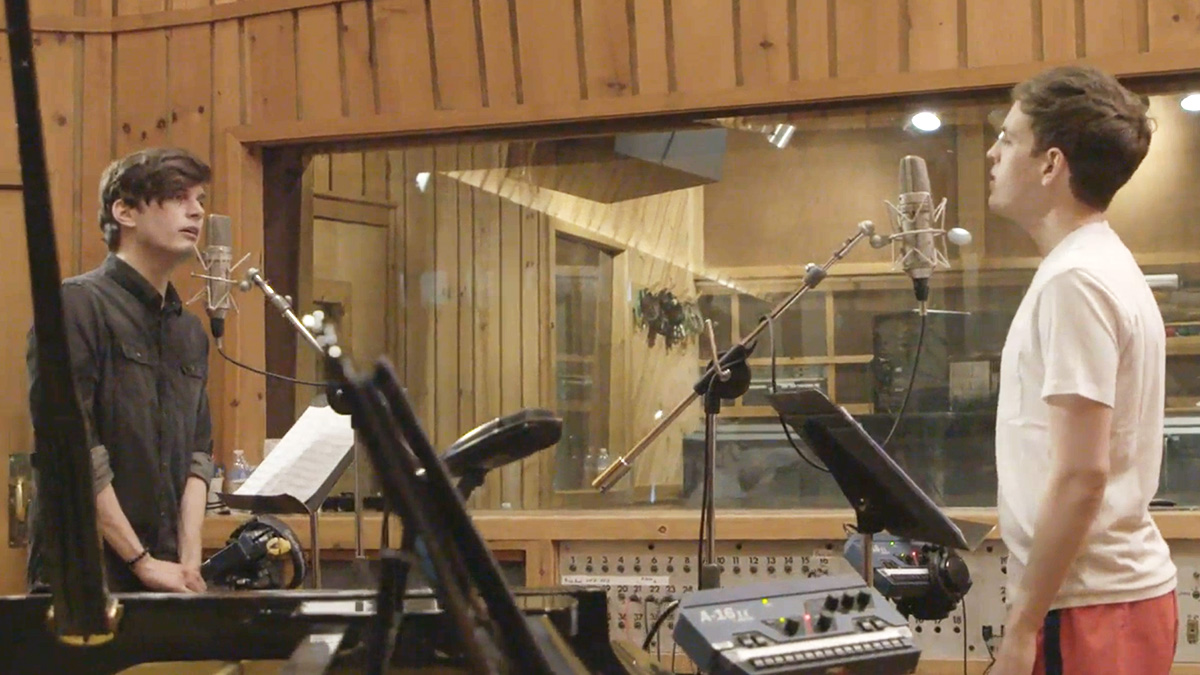The Broadway cast of Dear Evan Hansen in the recording studio