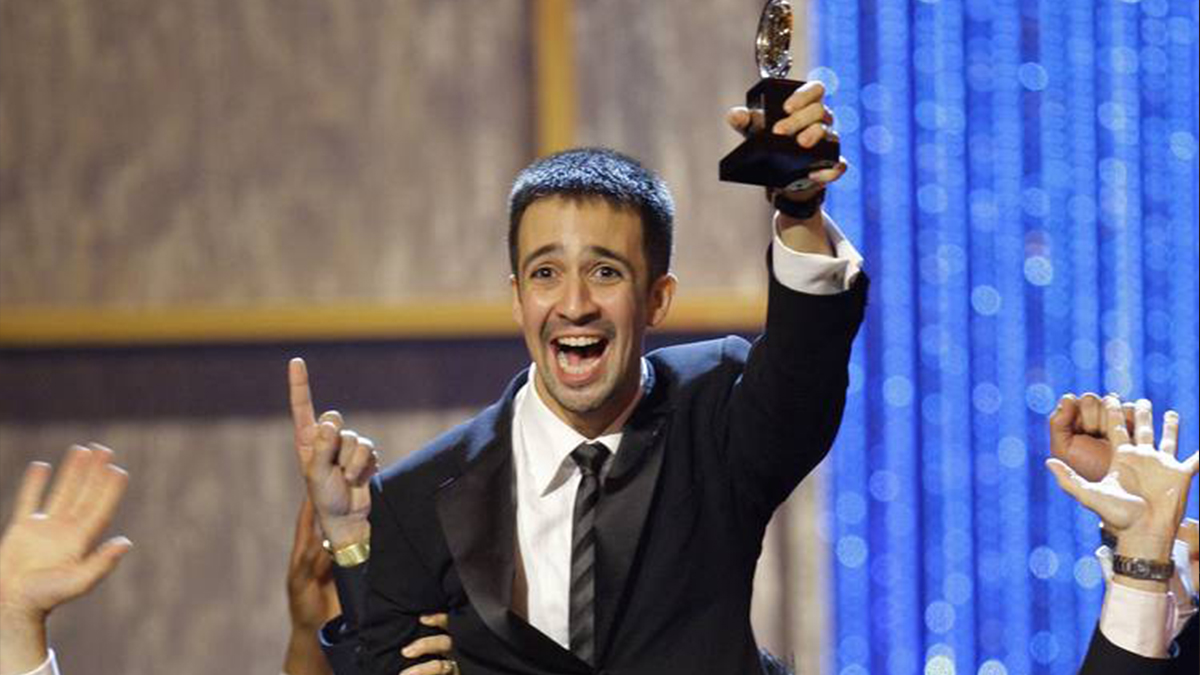 Lin Manuel Miranda winning the Tony Award in 2008