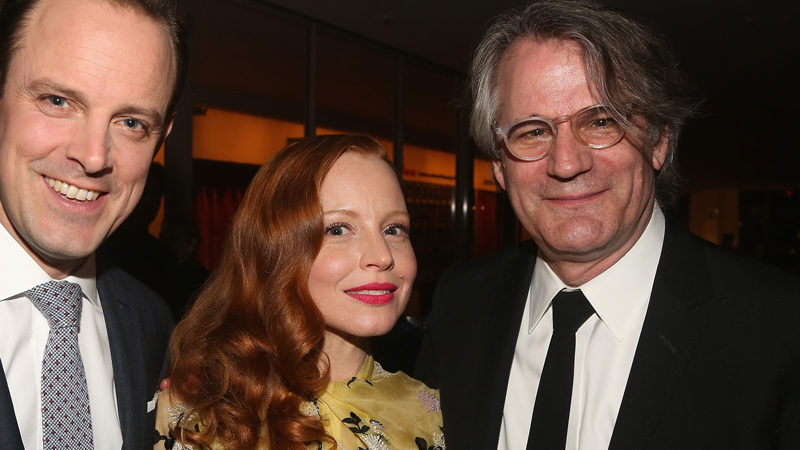 Harry Hadden-Paton, Lauren Ambrose, and Bartlett Sher at the opening night of the Broadway revival of My Fair Lady