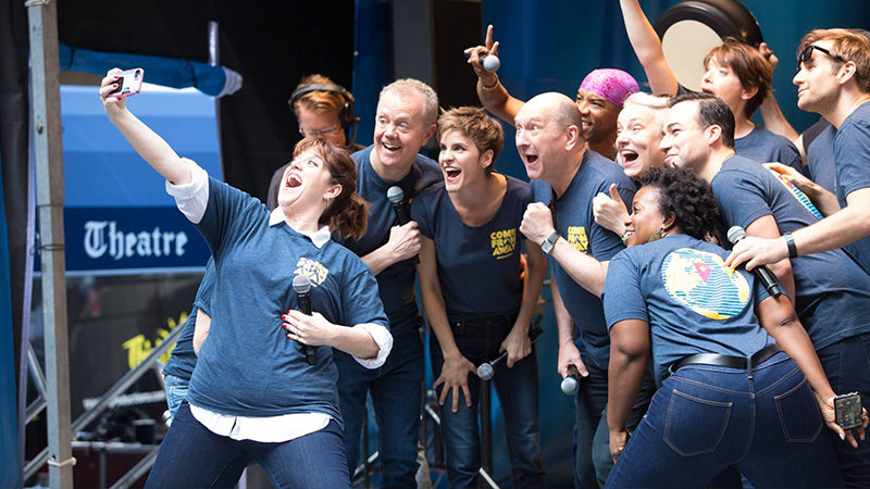 The cast of Come From Away at the 2017 Stars in the Alley Concert