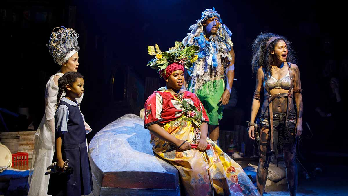 Emerson Davis, Lea Salonga, Alex Newell, Quentin Earl Darrington, and Merle Dandridge in <i>Once on this Island</i>. Photo by Joan Marcus.