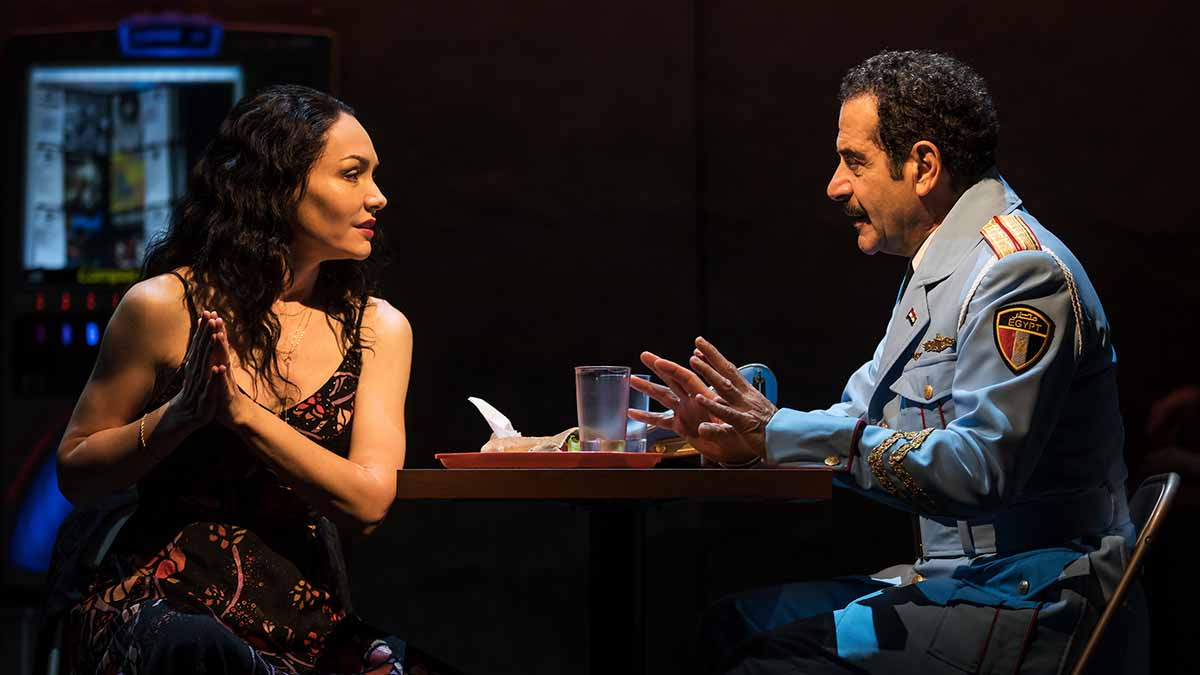 Katrina Lenk and Tony Shalhoub in <i>The Band's Visit</i>. Photo by Matt Murphy.