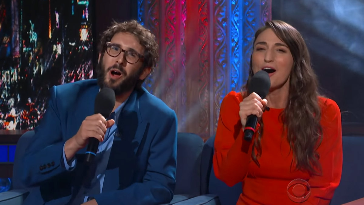 "Josh Groban and Sara Bareilles perform ""Tony Awards the Musical"" on The Late Show with Stephen Colbert"