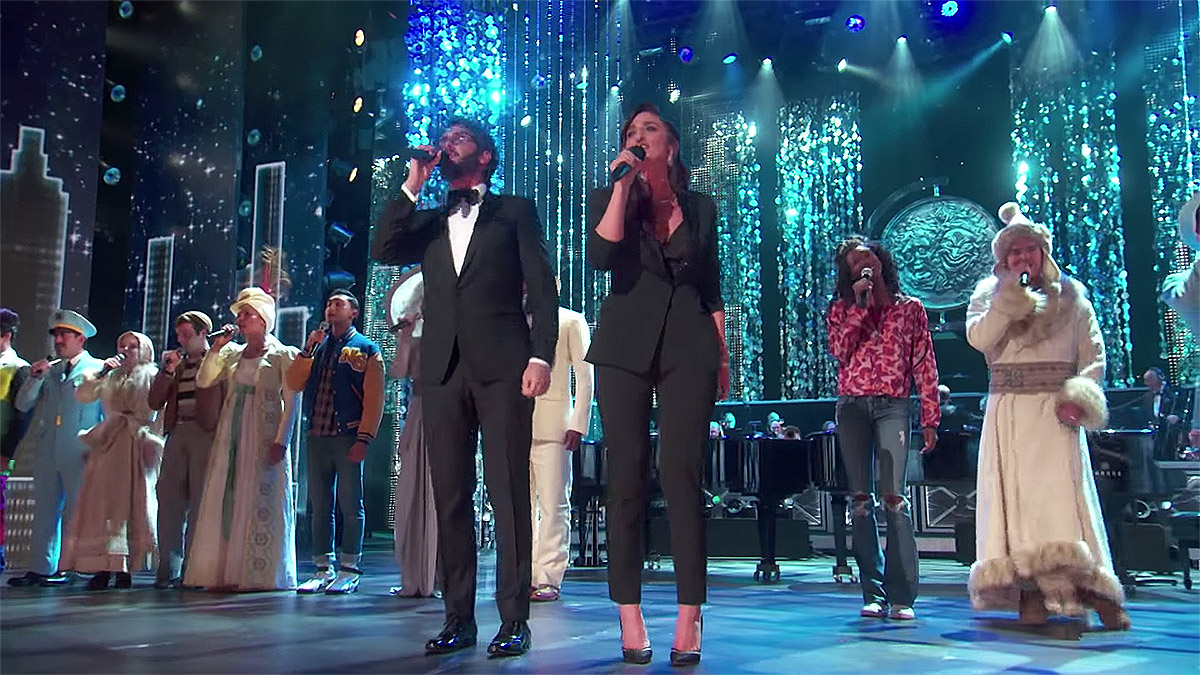 Josh Groban and Sara Bareilles perform the opening number at the 72nd Annual Tony Awards