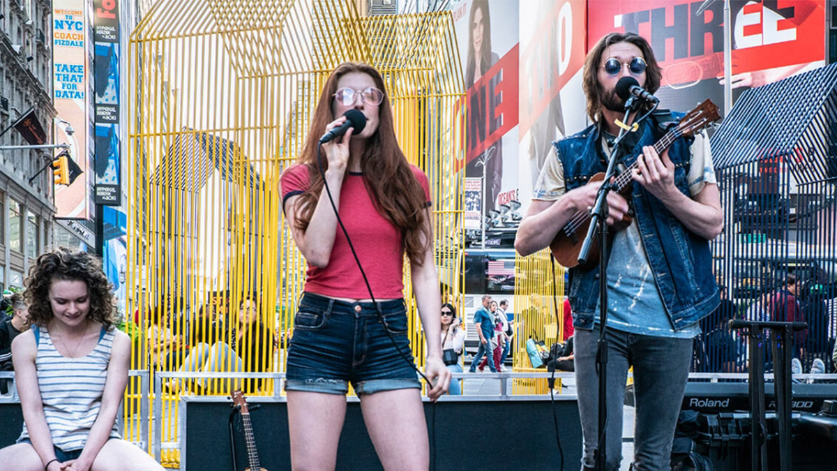 Broadway Buskers performing songs in Times Square