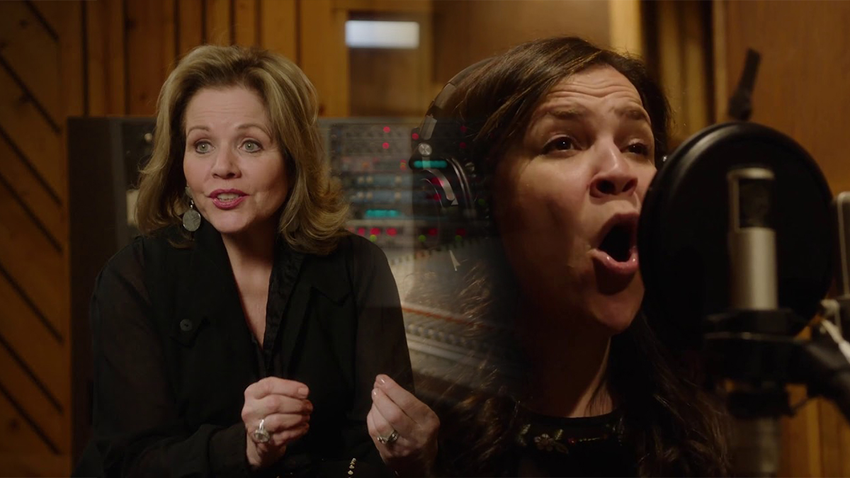 Renée Fleming and Lindsay Mendez in the recording studio for a behind-the-scenes look at the Carousel cast recording