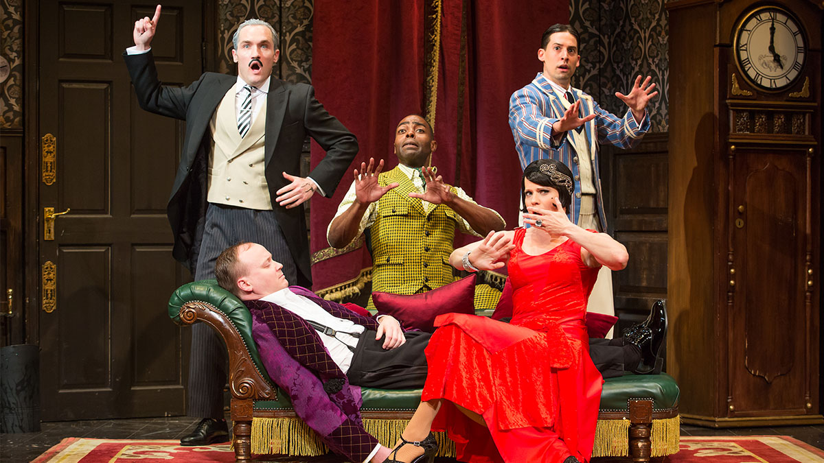 The company of the Broadway play The Play That Goes Wrong