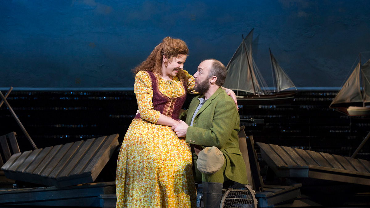 Lindsay Mendez and Alexander Gemignani perform a song from the Broadway revival of the Rodgers and Hammerstein musical Carousel.
