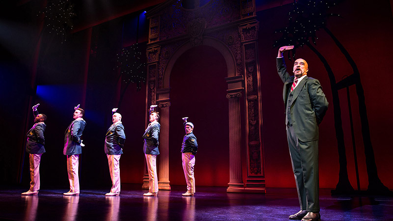 Alan Wiggins, Jake Odmark, Matthew Stocke, Alex Michael Stoll, Tommy Bracco and Eric Anderson in <i>Pretty Woman: The Musical</i>. Photo by Matthew Murphy.