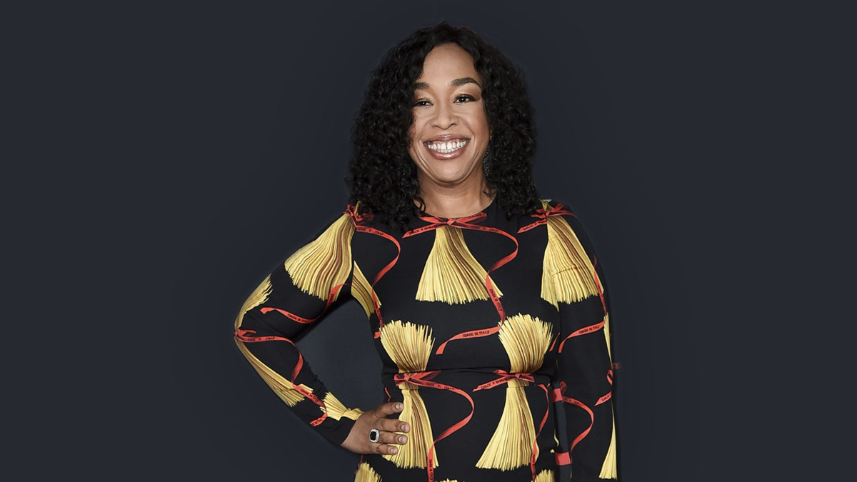Shonda Rhimes in a black and gold dress. Shonda will be a producer for the new Broadway play American Son