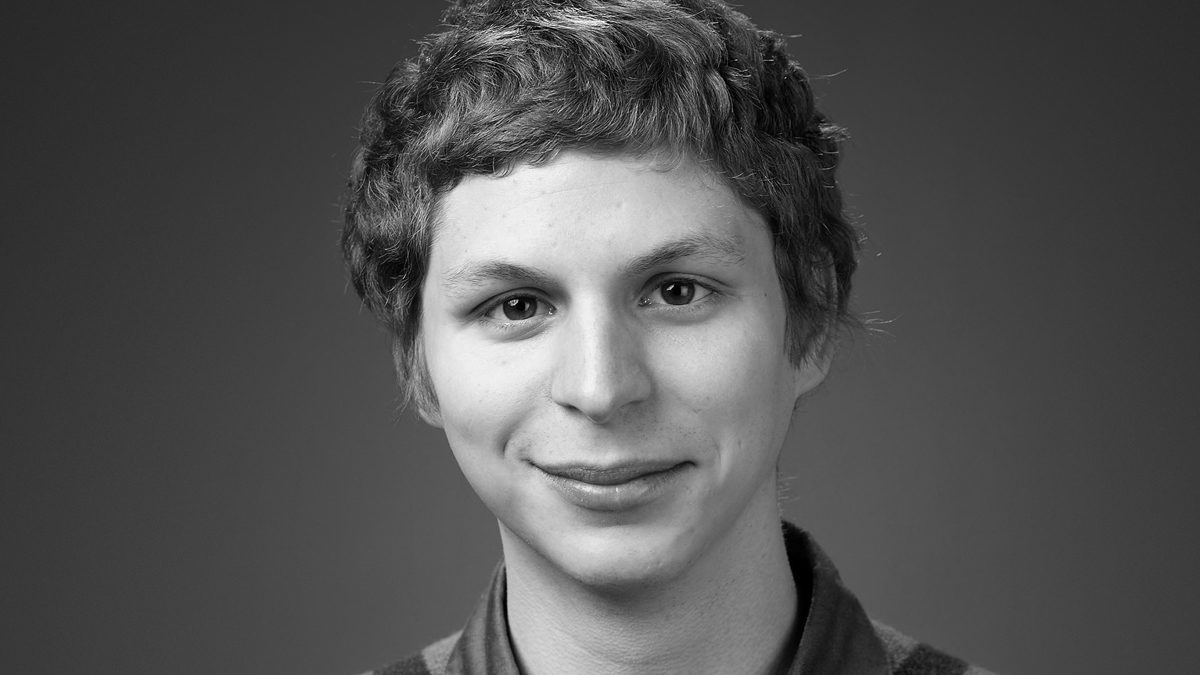A black and white headshot of Michael Cera, who is starring on Braodway in The Waverly Gallery