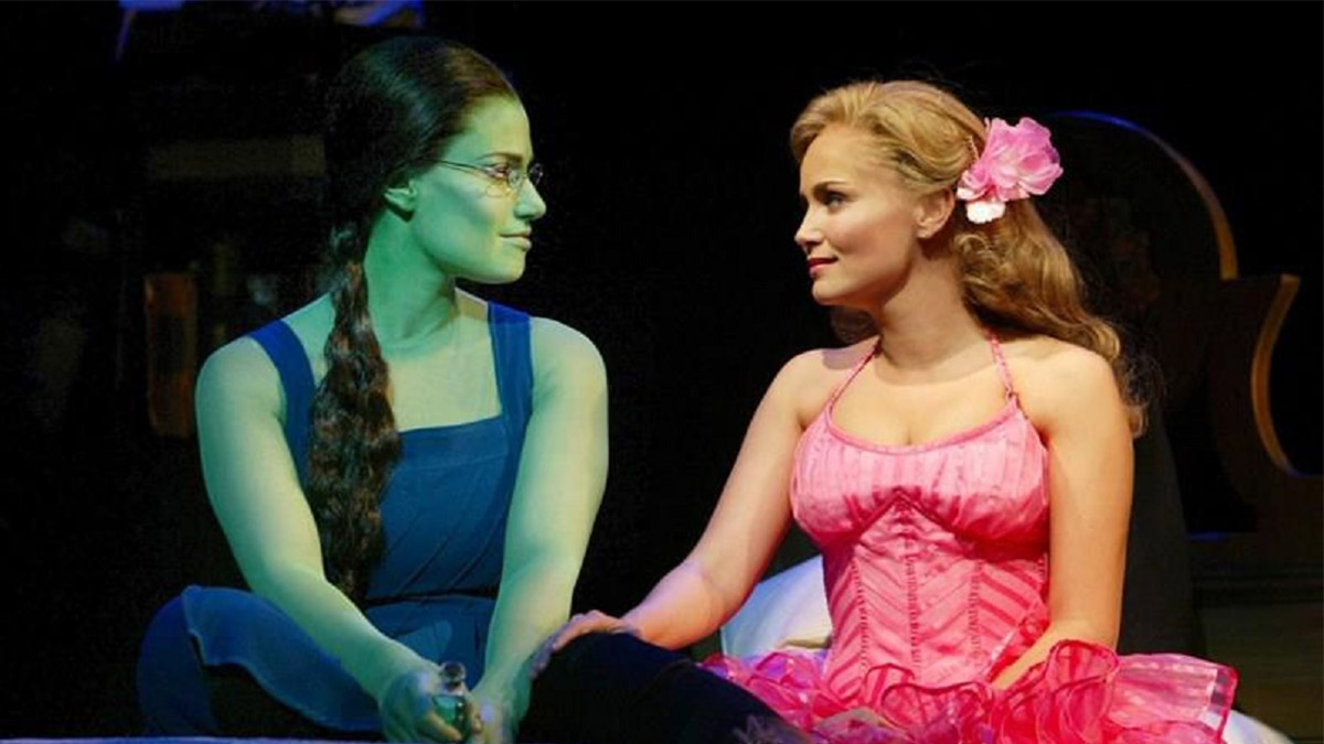 Idina Menzel and Kristin Chenoweth in Wicked on Broadway