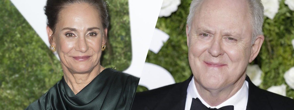 Laurie Metcalf and John Lithgow at the Tony award red carpet.