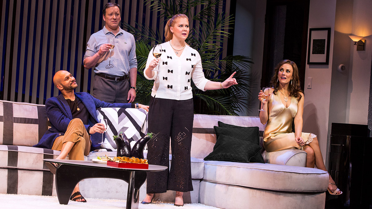 Keegan Michael Key, Jeremy Shamos, Amy Schumer, and Laura Benanti in Meteor Shower.