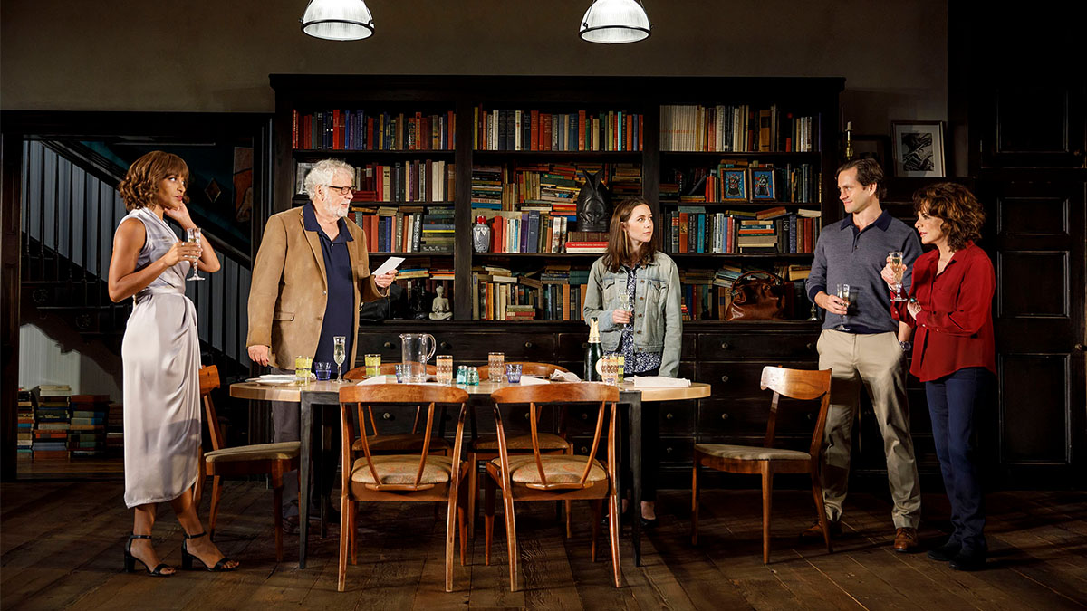 Megalyn Echikunwoke, John Tillinger, Talene Monahon, Hugh Dancy, and Stockard Channing in Roundabout Theatre Company's <i>Apologia</i>. Photo by Joan Marcus.