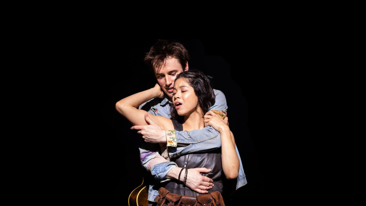 Reeve Carney and Eva Noblezada in Hadestown.