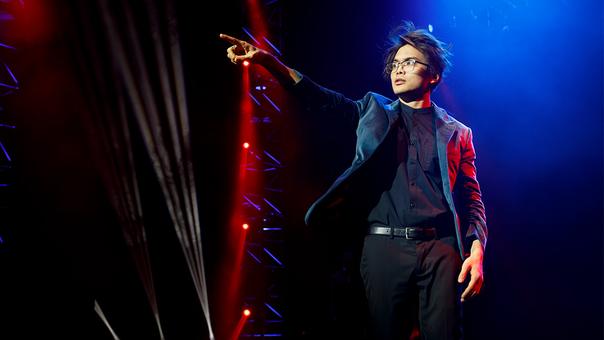 Shin Lim in The Illusionists - Magic of the Holidays. Photo by Joan Marcus.