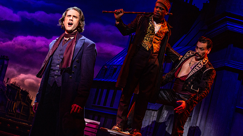 Aaron Tveit, Sahr Ngaujah, and Ricky Rojas in <i>Moulin Rouge!</i> Photo by Matthew Murphy.