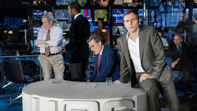 Bryan Cranston, Tony Goldwyn and the cast in <i>Network</i>. Photo by Jan Versweyveld.