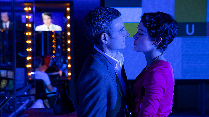 Tony Goldwyn and Tatiana Maslany in <i>Network</i>. Photo by Jan Versweyveld.