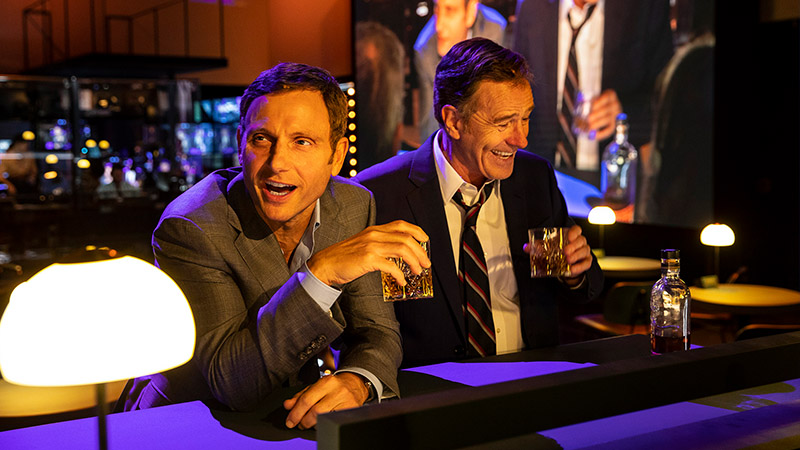 Tony Goldwyn and Bryan Cranston in <i>Network</i>. Photo by Jan Versweyveld.
