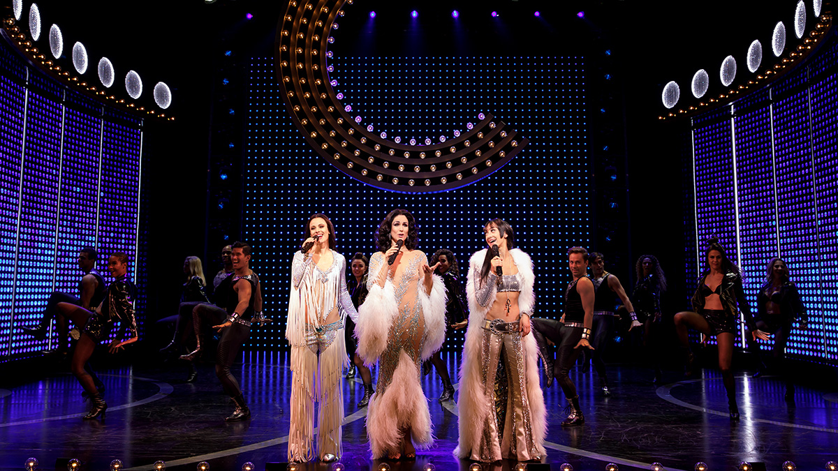 Teal Wicks, Stephanie J. Block, and Micaela Diamond in <i>The Cher Show</i> on Broadway. Photo by Joan Marcus.