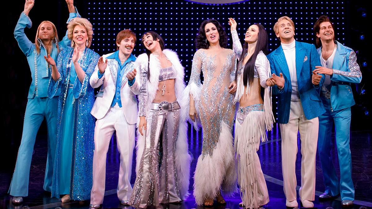 The company of <i>The Cher Show</i> on Broadway. Photo by Joan Marcus.
