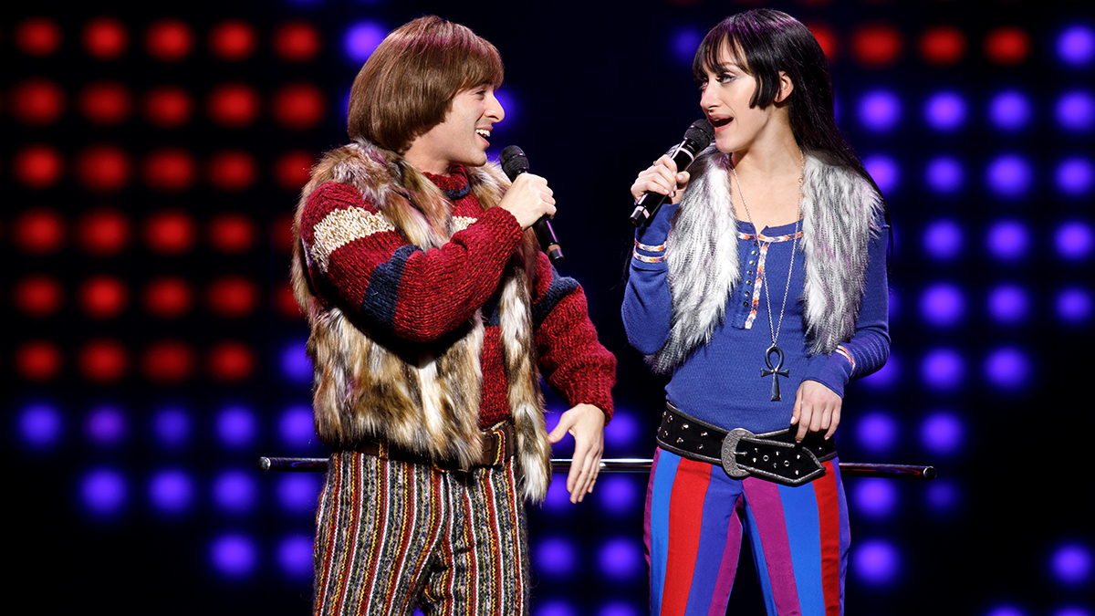 Jarrod Spector and Micaela Diamond in <i>The Cher Show</i> on Broadway. Photo by Joan Marcus.
