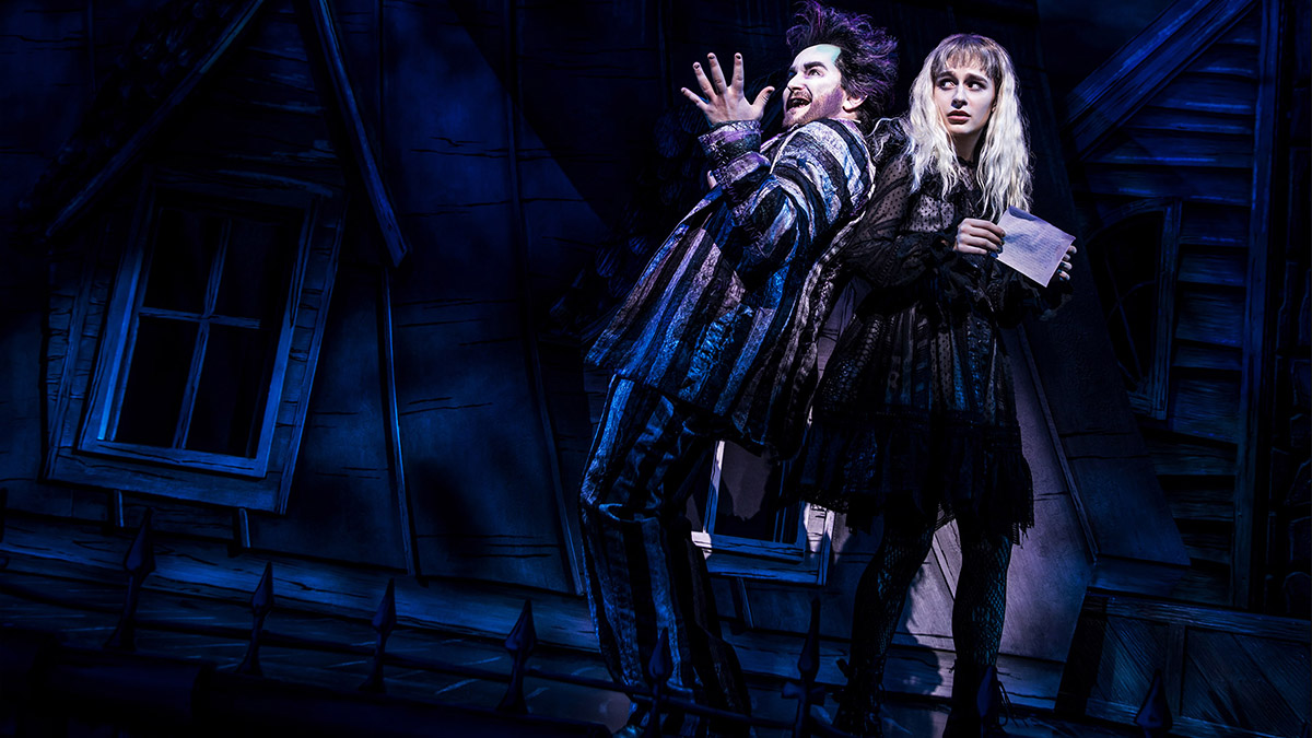 Alex Brightman and Sophia Anne Caruso in <i>Beetlejuice</i>. Photo by Matthew Murphy.