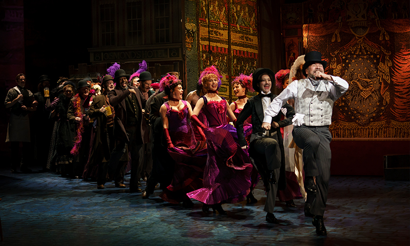 Danny Burstein and the company in <i>My Fair Lady</i>. Photo by Joan Marcus.