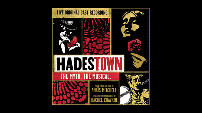 The album cover for the live cast recording of Hadestown at New York Theatre Workshop. The colors are red, white, gold, and black.