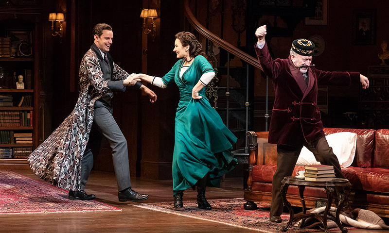 Harry Hadden-Paton, Laura Benanti, and Allan Corduner in <i>My Fair Lady</i>. Photo by Joan Marcus.
