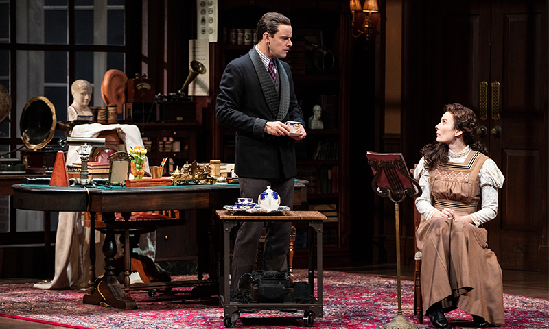 Harry Hadden-Paton and Laura Benanti in <i>My Fair Lady</i>. Photo by Joan Marcus.