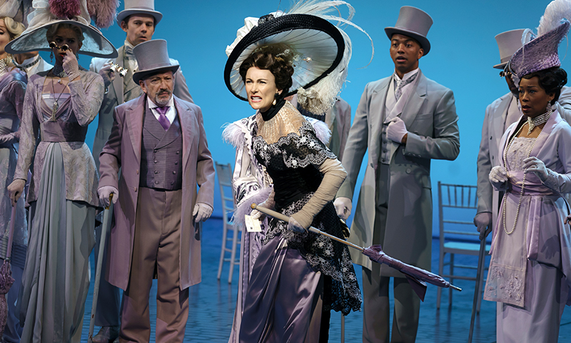 Laura Benanti, Christian Dante White, and Allan Corduner in <i>My Fair Lady</i>. Photo by Joan Marcus.