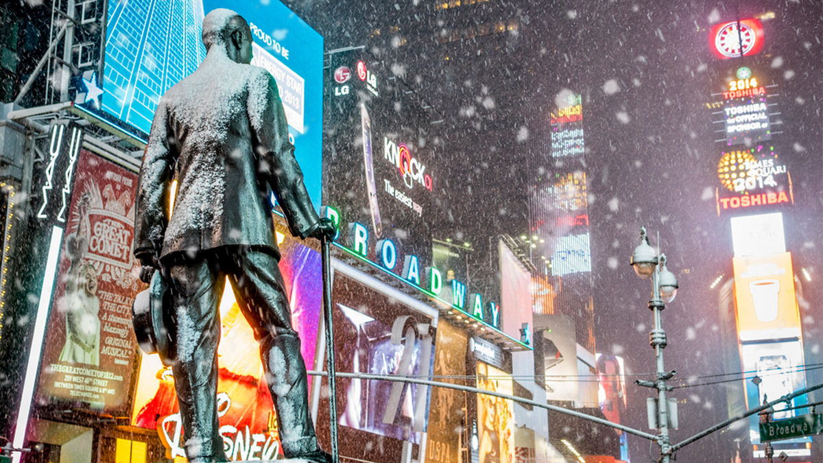Times Square covered in snow