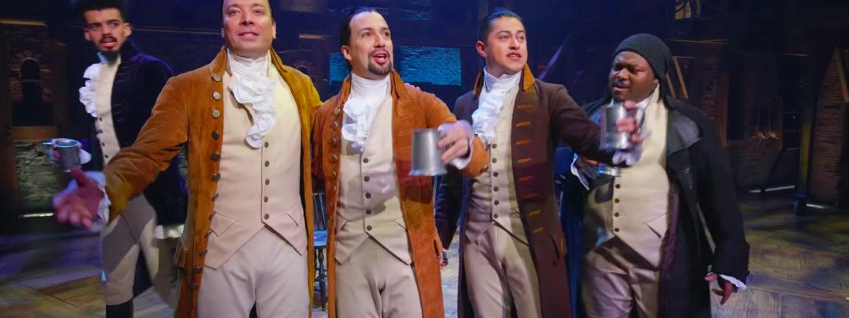 Jimmy Fallon and the company of Hamilton in Puerto Rico