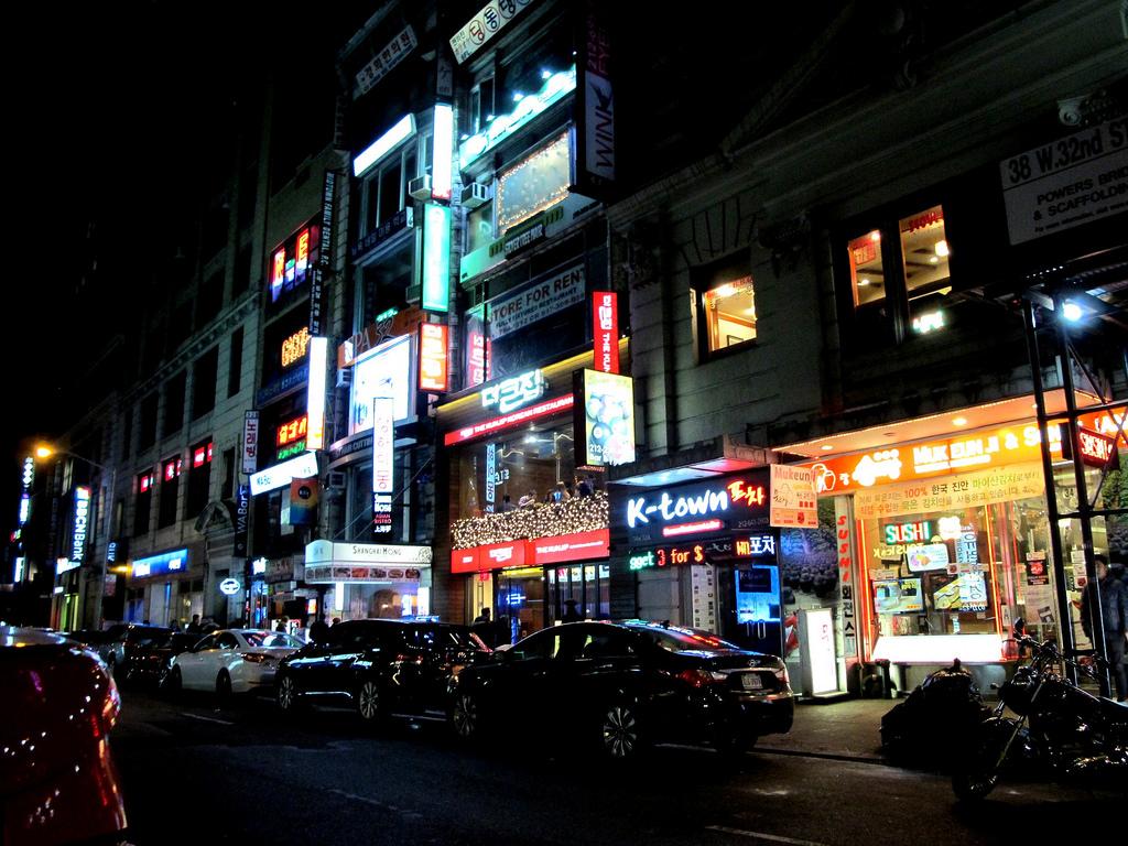 Koreatown at night in New York City.