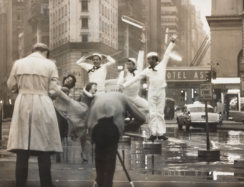 Gordon Parks photographs original Fancy Free cast members Muriel Bentley, Janet Reed, Harold Lang, John Kriza, and Jerome Robbins during a Times Square reunion in 1958.
