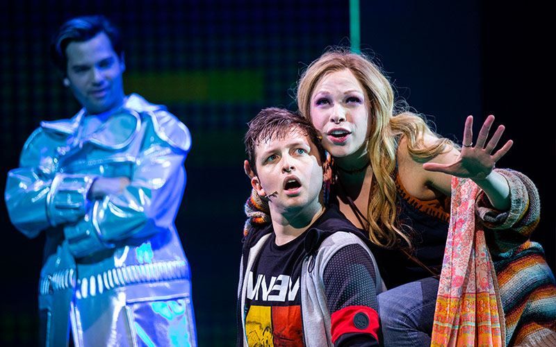 Jason Tam, Will Roland, and Lauren Marcus in <i>Be More Chill</i>. Photo by Maria Baranova.