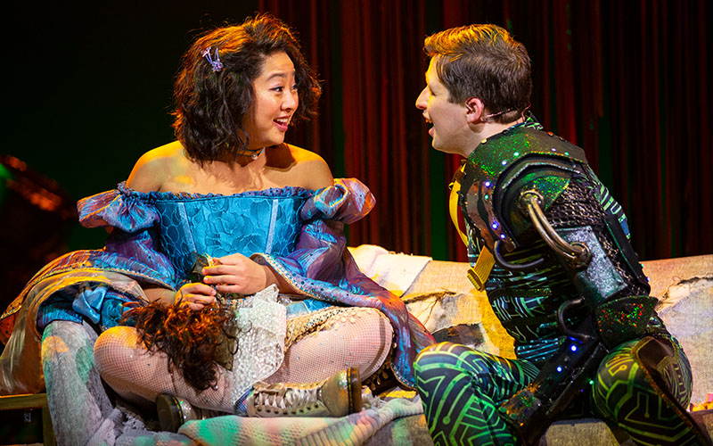 Stephanie Hsu and Will Roland in <i>Be More Chill</i>. Photo by Maria Baranova.