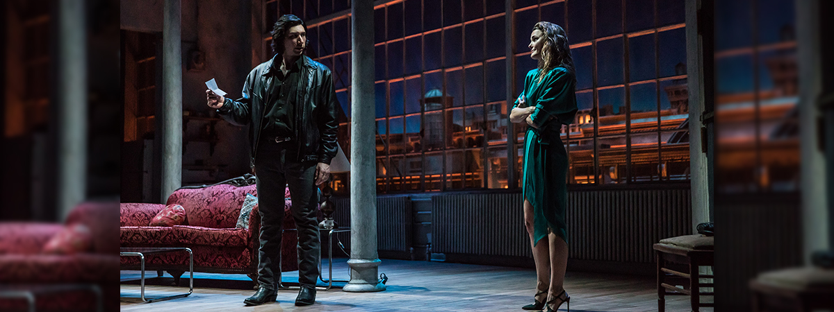 Adam Driver and Keri Russell in Burn This on Broadway