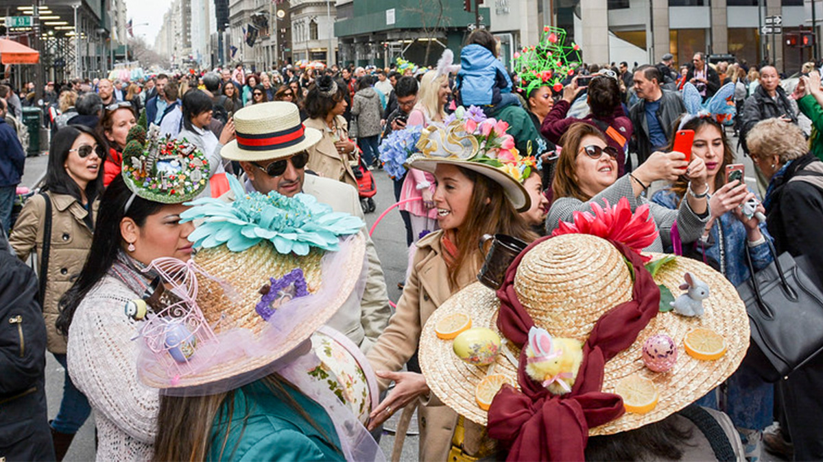 A group at the Easter Bonnet Festival in New York City.