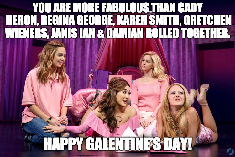 You are more fabulous than Cady Heron, Regina George, Karen Smith, Gretchen Wieners, Janis Ian & Damian Rolled together. Happy Galentine's Day!