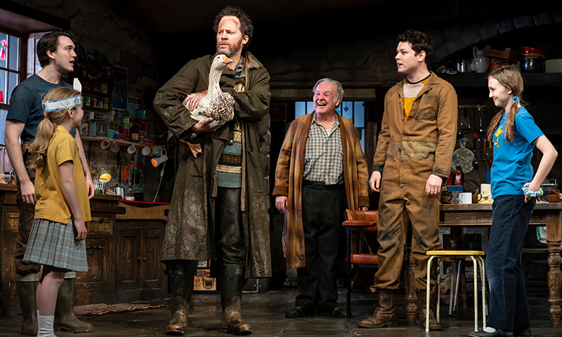 Collin Kelly-Sordelet, Matilda Lawler, Shuler Hensley, Fred Applegate, Sean Delaney and Willow McCarthy in <i>The Ferryman</i>. Photo by Joan Marcus.