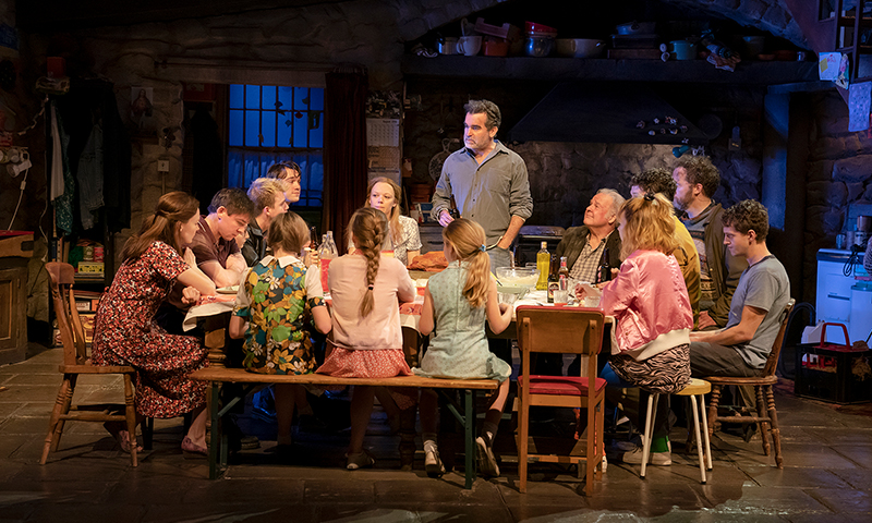 Brian d'Arcy James and the company of <i>The Ferryman</i>. Photo by Joan Marcus.