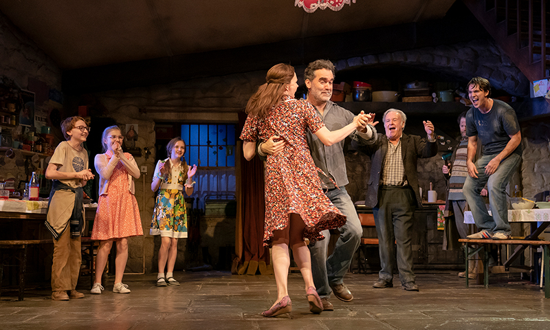 Brian d'Arcy James, Holley Fain and the company of <i>The Ferryman</i>. Photo by Joan Marcus.