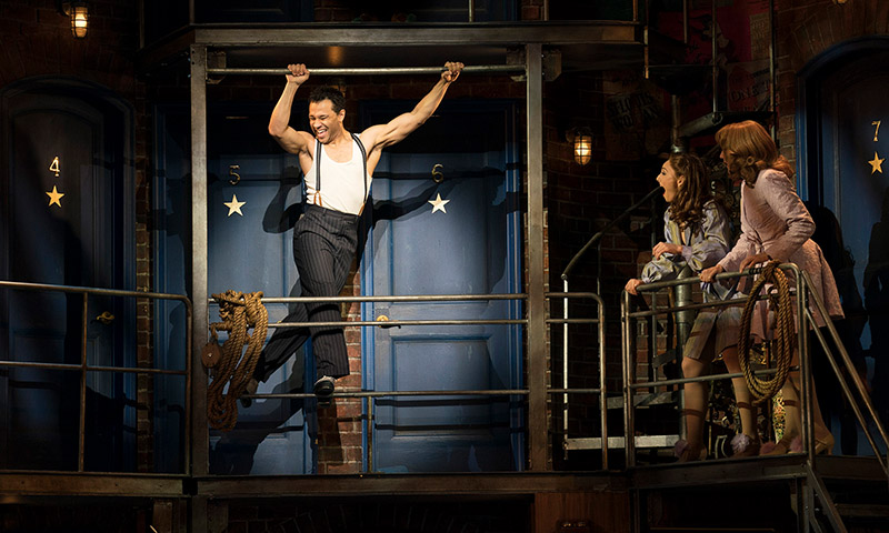 Corbin Bleu, Sarah Meahl and Erica Mansfield in <i>Kiss Me, Kate</i>. Photo by Joan Marcus.