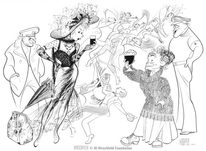 Al Hirschfeld's caricature of the original Broadway production of New Girl in Town.