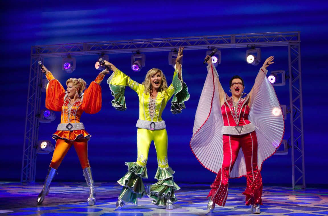 Judy McLane and the cast of Mamma Mia on Broadway.