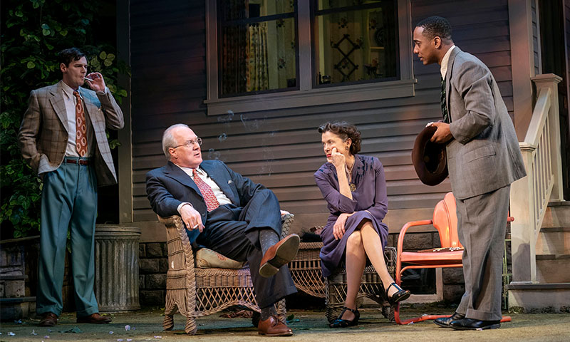 Benjamin Walker, Tracy Letts, Annette Bening, and Hampton Fluker in <i>All My Sons</i>. Photo by Joan Marcus.